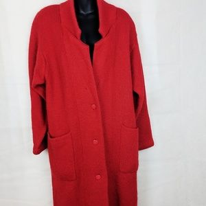 Vintage Red Sweater Trench Coat!! AMAZING!! -  Med